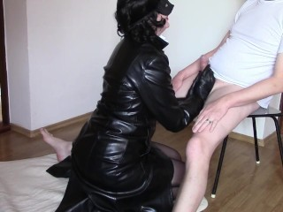 Oral pleasure and hand job in leather glaze
