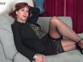 Horny American Mature Lady Strips First And Then Plays With Her Toy - MatureNL