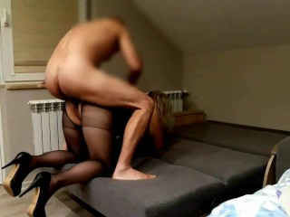 Sex in pantyhose and high heels, fuck the wife