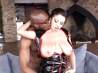 Busty chick's pink pussy gets blackened